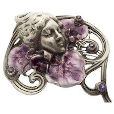 Magnificent vintage silver enamel Modesty pendant Antoine Beaudouin Paris from the 60s in Art Nouveau style