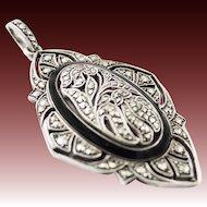 Gorgeous Art Deco Silver black Enamel Pendant Marcasites Braendle Era