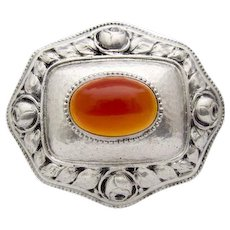 Art Nouveau Carnelian 800 Silver Pin Brooch Roses Flower hammered Cabochon