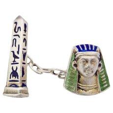 Egyptian Revival Enamel Art Deco Silver Single one! Cuff Link c.1920s Pharaoh Face