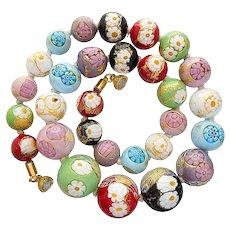 Multicolor vintage Murano glass necklace millefiori zanfirico cordonato d'oro