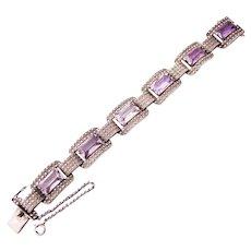Theodor Fahrner sterling silver bracelet marcasite amethyst Vintage German 30s