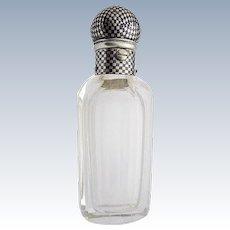 Art Deco Niello Tula Silver Glass Vinaigrette Flacon cut chessboard checkered