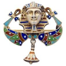Egyptian Revival Enamel Art Deco Silver Gilt Pin Brooch Pharaoh Wings Ankh Cross