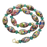 Vintage Murano Millefiori Aventurine Glass Necklace
