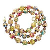 Vintage Murano aventurine glass necklace millefiori 18 karat gold foil