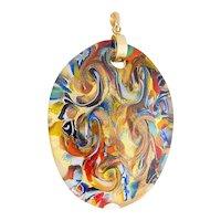 Murano Glass pendant 18 karat gold foil aventurine millefiori