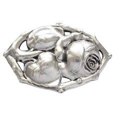 Art Nouveau DKS 800 Silver Pin Brooch Rose Bud Flower