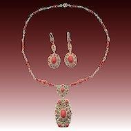 Czech Bohemian Art Deco Faux Coral Necklace And Earrings Set Metal Gilt Probably Gablonz Boho c.1920s