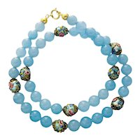Vintage Murano light blue glass necklace melting
