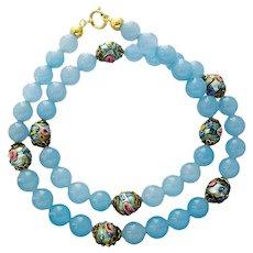 Vintage Murano light blue glass necklace melting