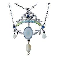 Art Nouveau silver enamel necklace pendant  freshwater pearl chalcedony