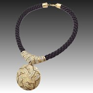 Pierre Lang, Vienna, Cord Necklace with Pin Brooch as a Pendant heavy gilding gold-plating
