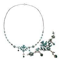 Antique Victorian Art Nouveau Silver Necklace Turquoise Dove Bird 1890 1900