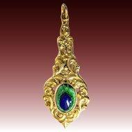Gablonz peacock eye pendant paste metal gilt strass 1900