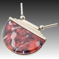 Art Deco Necklace WMF Ikora Glass Jewellery red marbled veined with chain