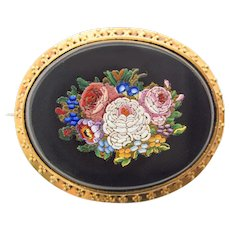 Gorgeous antique Micro Mosaic 14ct Gold Pin Brooch c. 1860 rare Millefiori Micromosaic