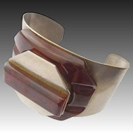 French Chrome Bakelite Cuff Bracelet Compact Signed Albert Flamand  Paris France