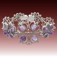 Vintage 835 Silver Bracelet Amethyst Cabochons signed KT