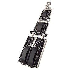 Theodor Fahrner 935 Silver Chatelaine black Enamel Onyx Watch Fob