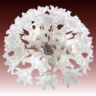 Murano Glass Flower Sputnik Flush mount Chandelier Lamp Venini Mazzega VeArt Italy 60s
