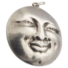 Antique Victorian 835 Silver Symbol Pendant Joy Pain Laugh Cry Sun Face