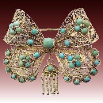 Antique Art Nouveau Silver Gilt Pin Brooch Loop Turquoise c.1910