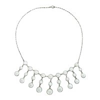 Art Deco Edwardian moonstone silver necklace