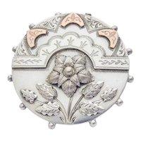 Victorian Silver Brooch Flower c.1880