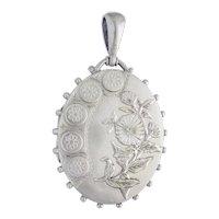 Stunning Victorian Silver Locket with flower c. 1880