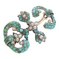 Antique Victorian Turquoise Silver Brooch  Seed Pearls c.1860