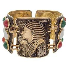 Egyptian Revival Pharaoh bracelet brass blackened paste stones