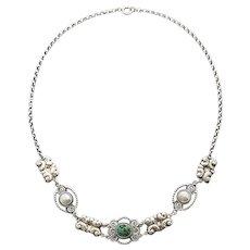 Art Nouveau turquoise 800 silver necklace skonvirke