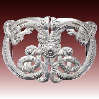 Art Nouveau silver belt buckle by Marius Hammer Bergen, Norway c. 1910 celtic sea serpent Dragestil Ouroboros