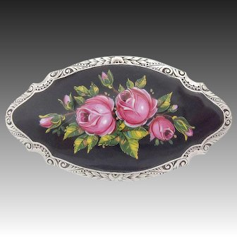 Rare large Art Nouveau Enamel Silver Brooch Roses hand painted Blossoms c.1900