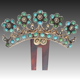 Delightful Art Nouveau Victorian Turquoise Hair comb c.1890 seed pearls Tombac horn
