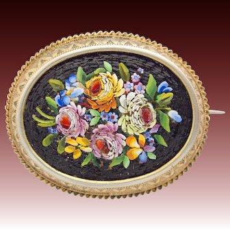 Gorgeous antique Victorian Micro Mosaic 800 Silver gilt Pin Brooch c. 1850 rare Millefiori Micromosaic
