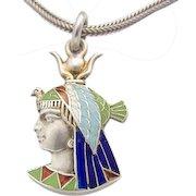 Egyptian Revival Enamel Art Deco Silver Pendant c.1920s Isis Pharaoh Face