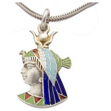 Egyptian Revival Enamel Art Deco Silver Pendant c.1920s Isis Pharaoh Face