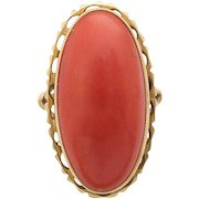 Gorgeous large 18ct Gold Coral Ring Oval Cabochon Italy 60s vintage