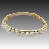 22ct Gold bracelet bangle freshwater pearls wire