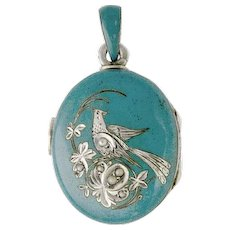 Antique Victorian Silver Locket turquoise Enamel Pendant Bird Seed Pearls