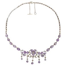 Gorgeous decorative Victorian silver gilt amethyst necklace with seed pearls c.1890