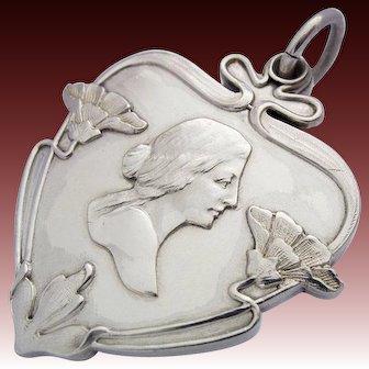 Meyle & Mayer Art Nouveau Silver Mirror Locket Pendant Lady Pforzheim, Germany