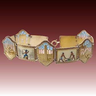 Egyptian Revival Plique a jour Enamel 935 Silver Bracelet c.1920s Scenes