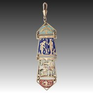 Art Deco Enamel Chatelaine 1920`s Egyptian Revival Watch Chain