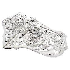 Art Nouveau Silver Belt Buckle c.1900 800 moon crown makers mark cornucopia Flowers