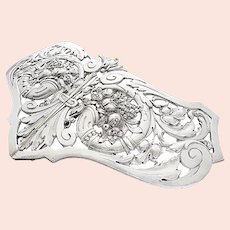 Art Nouveau Silver Belt Buckle c.1900 800 moon crown makers mark cornucopia Flowers