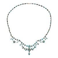 Antique Victorian Art Nouveau Silver gilt Necklace Turquoise Flower Blossom 1890 1900