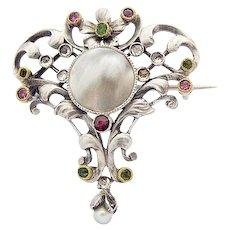 Ernst Engeler Art Nouveau Silver Flower Brooch Mother of Pearl